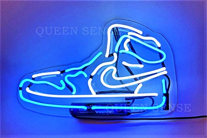 Blue Air Boot Sneakers Shoe Neon Sign