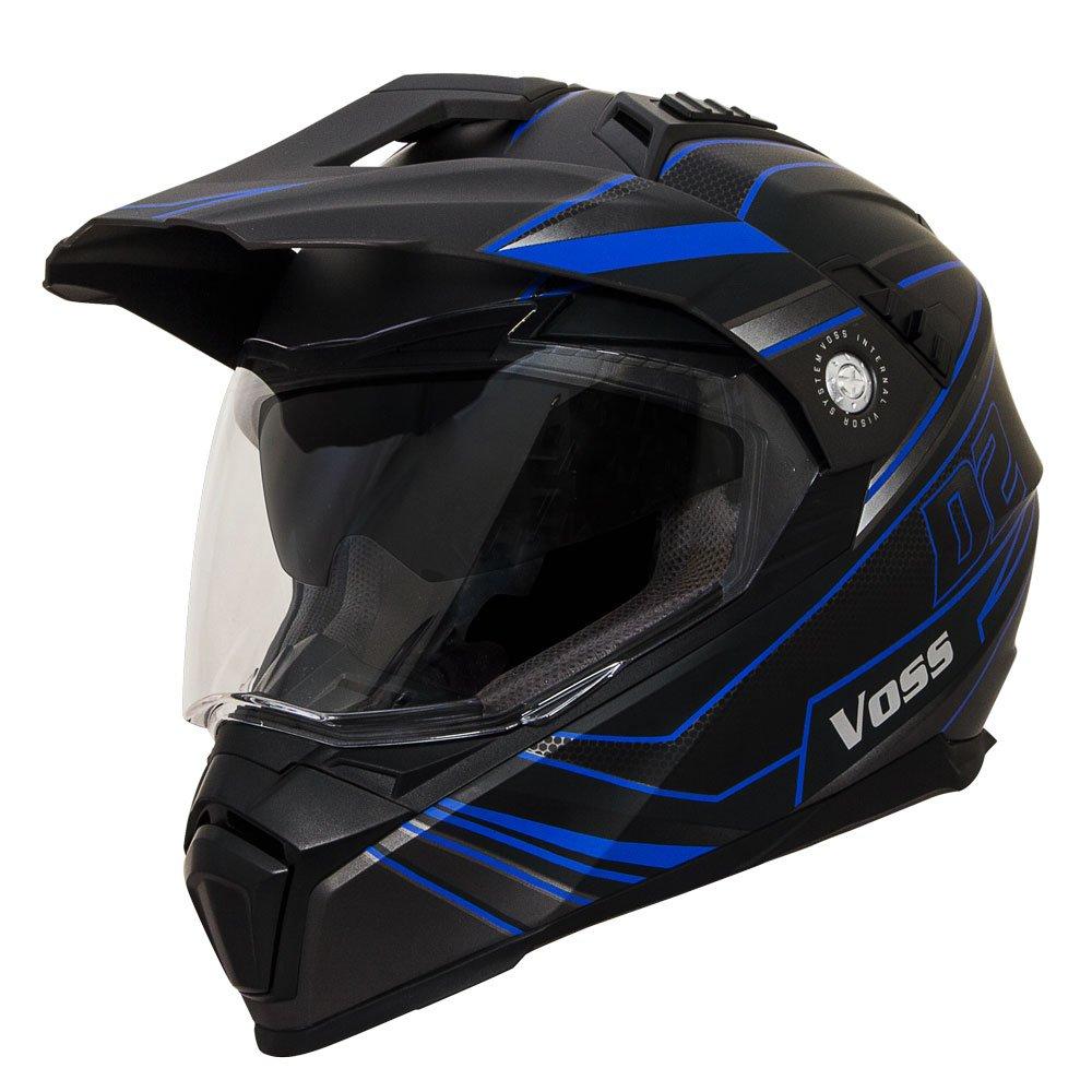 Voss 601 D2 Matte Blue Spectrum Dual Sport Helmet with Integrated Sun Lens - M - Matte Blue/ Black