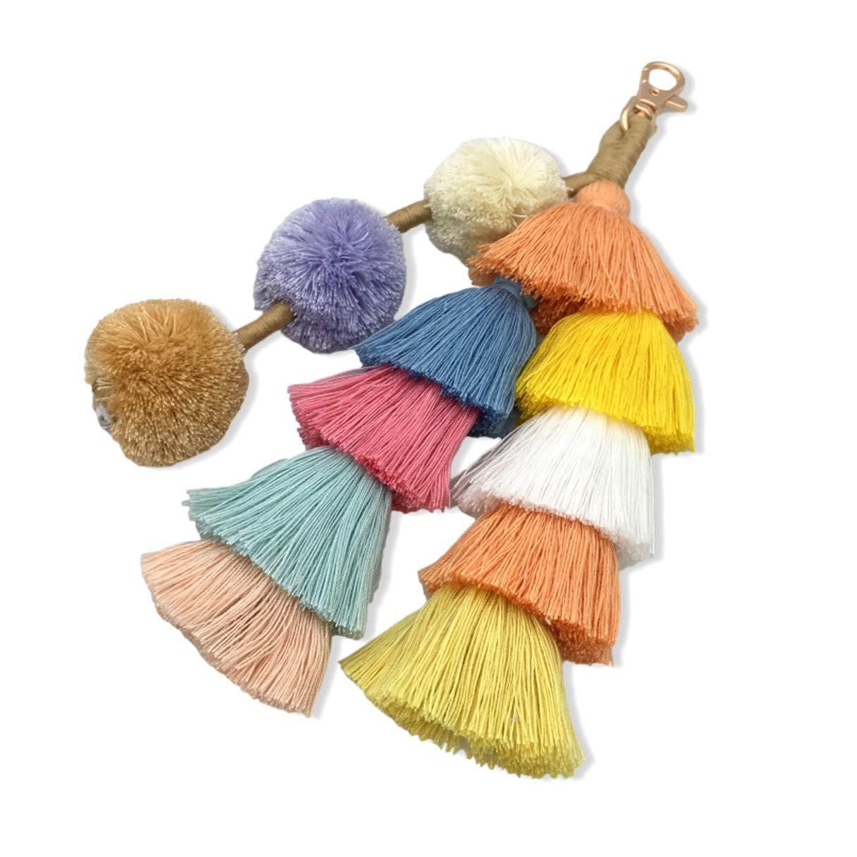 1 Pack Multicolor Cotton Tassel Keyrings Pendants Girls Ball Puff Fur Rabbit Key Chains Grand Popular Pocket Men Bag Car Keychain