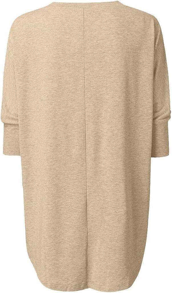Luckycat Mujer Camisas Manga 3/4 Boho Blusa Bordado T-Shirt Tops Mujer con Cuello En Cuello De Manga Larga Casual SóLido TúNica Suelta Tops Camiseta Mujer Talla Grande S-6XL: Amazon.es: Ropa y accesorios