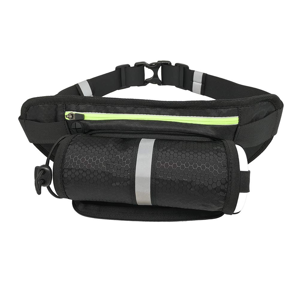 Sireck Hydration Waist Pack Bag with Water Bottle Holder (diam up to 7cm), Waterproof Running Belt For Men Women, Sports Phone Holder Fanny Pack For iPhone, Samsung, Huawei (up to 6.3'')