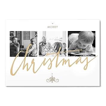 Weihnachtskarten Personalisiert.Greetinks 10 X Weihnachtskarten Shiny Christmas In Creme