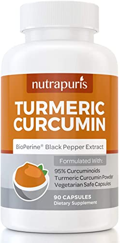 Organic Turmeric Curcumin Complex with Bioperine Black Pepper Curcuminoid Anti-Inflammation Supplement Capsules for Joint Pain and Mobility Support and Relief One Month Supply from Nutrapuris