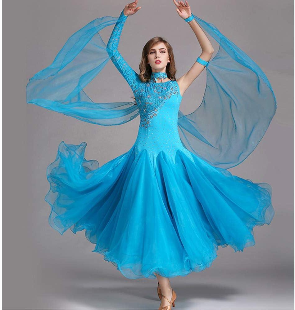QMKJ Mujeres Danza Latina Trajes Danza del Vientre Falda Azul ...