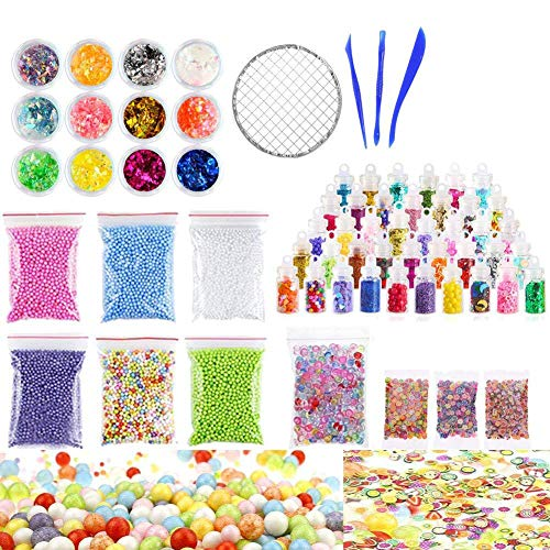 (Jetloter Slime Making Kit Slime Supplies Including Fishbowl Beads, Foam Balls, Glitter, Confetti, Storage Containers, Slime Tools for DIY Craft Homemade)
