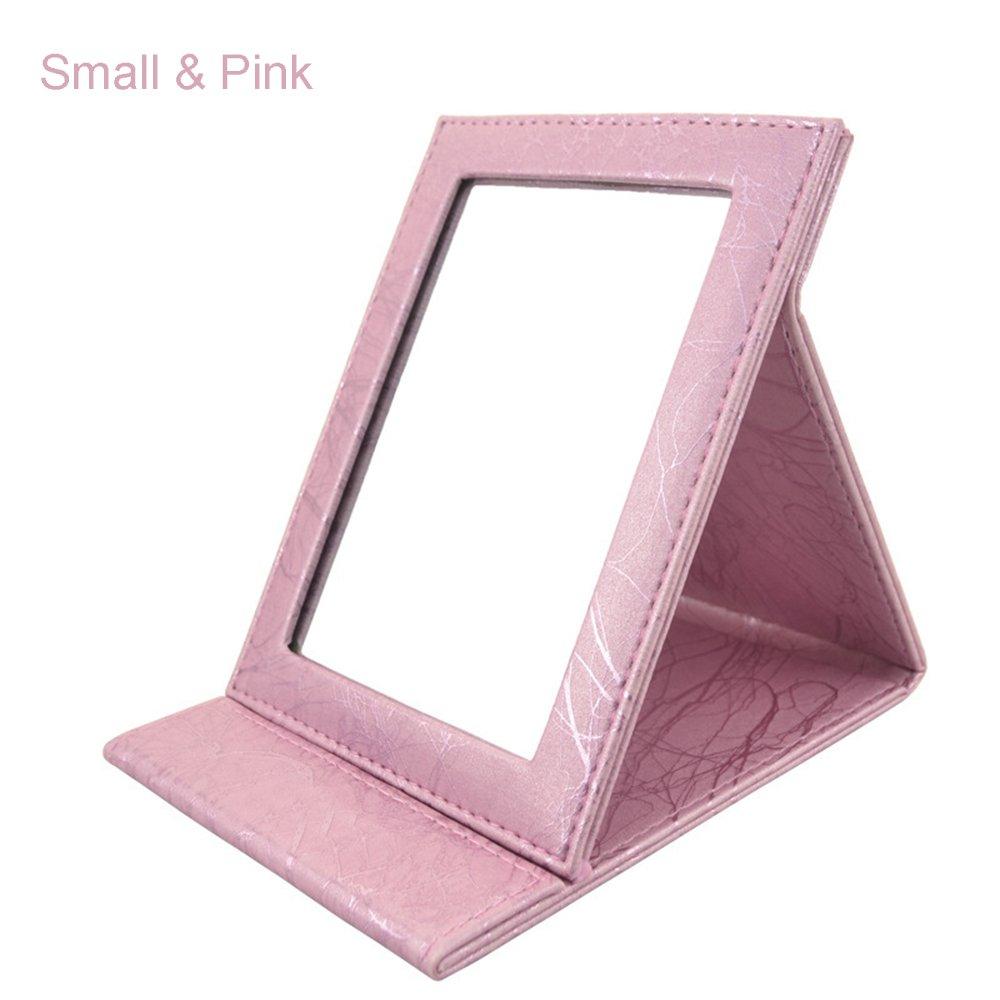 ToiM Portable Folding Vanity Mirror with Stand, Collapsible Mirror Make-up Mirror Dresser Foldable Mirror Make-up Tools and Accessories (Small, Champagne)