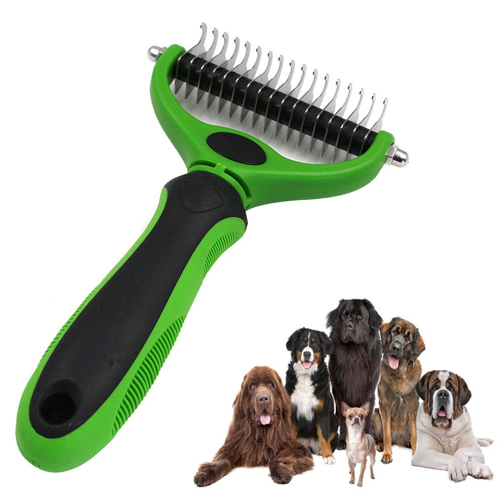JIGAN Pet Grooming Tool, for Dog & Cat Double Sided Blade Rake Comb with Grooming Brush