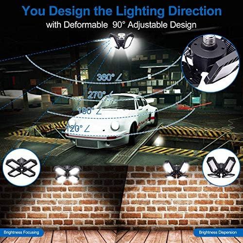 ZJING LED Garagenleuchte Kellerleuchte Büroleuchte Werkstattleuchte, 120W E27 Ultra Hell 12000 Lumen 6500K, verstellbare Trilights-Garagen-Deckenleuchte [Energieklasse A+],150W