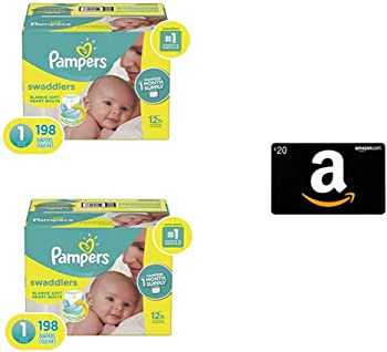 2 x Pampers Swaddlers Baby Diapers + $35 Amazon Gift Card from $67.59