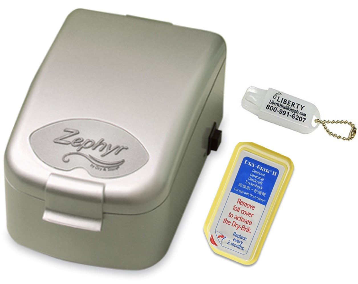 Zephyr Dry & Store Hearing Aid Dryer with Carrying Case and Liberty Hearing Aid Battery Keychain by Dry and Store