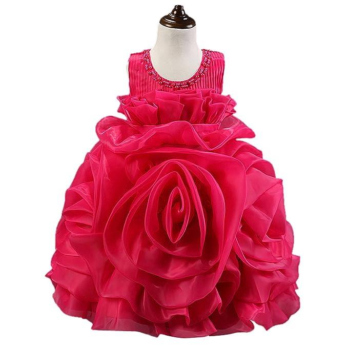 Happy Cherry - Falda Princesa de Niñas Bebés para Boda Fiesta Ceremonia Vestido Tutú de Tul sin Mangas Diseño de Rosa 3D con Lazo Lindo - Rojo Rosado ...