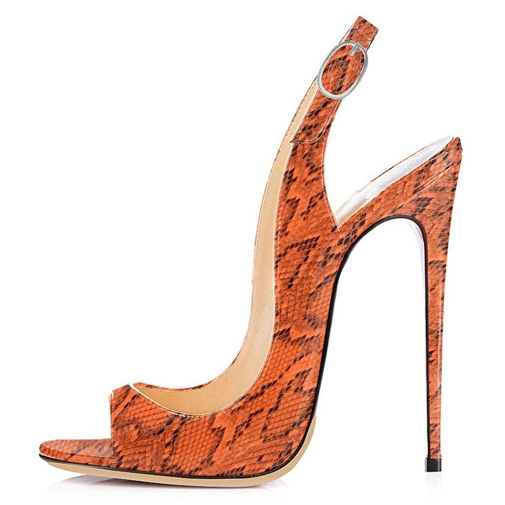 orange Snake UMEXI Open Toe Slingbacks Ankle Strap High Heels Stiletto Pumps Wedding Party shoes for Women
