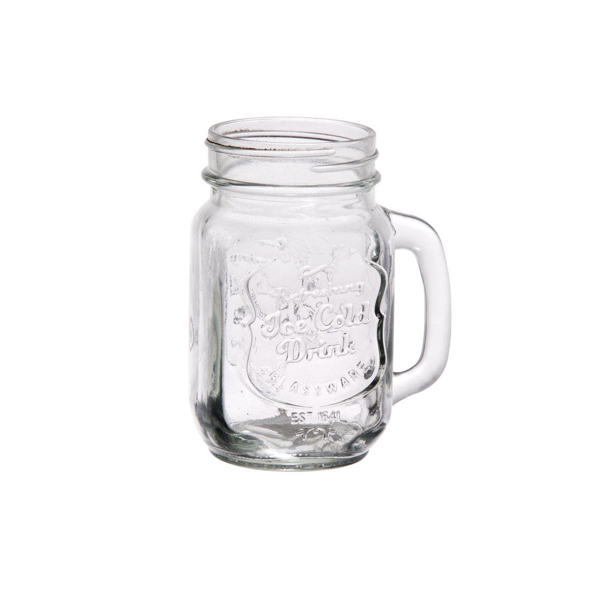 Palais Glassware Mason Jar Tumbler Mug with Handle - 16 Ounces - Set of 4 ('Quality Beverages' Embossed)