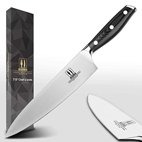 Kitchen knives Allezola Chef Knife, 7.5 Inch German High Carbon Stainless  Steel Cooking Knife with Ergonomic Handle,Multipurpose Top Kitchen Knife  for ...