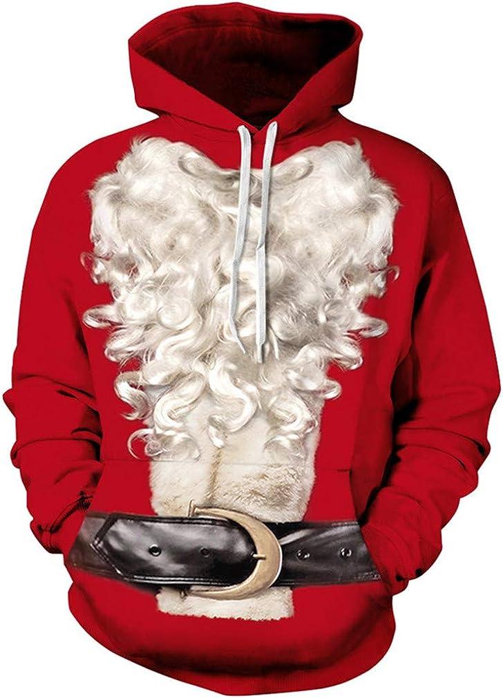 Ocean Plus Homme Sweat-Shirt /à Capuche Manches Longues Hoodie 3D Graphiques avec Un de Poche Kangourou No/ël Halloween Chandail