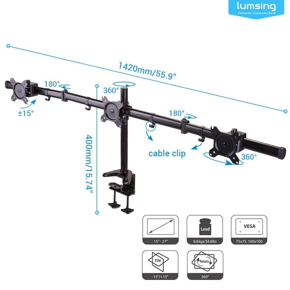 Lumsing Table Mount Flat Screen Bracket Mount Dual Monitor Stand Desk Mount for Ultra Swivel Tilt Monitor LCD Display 15-27 Monitors LCD//LED Display