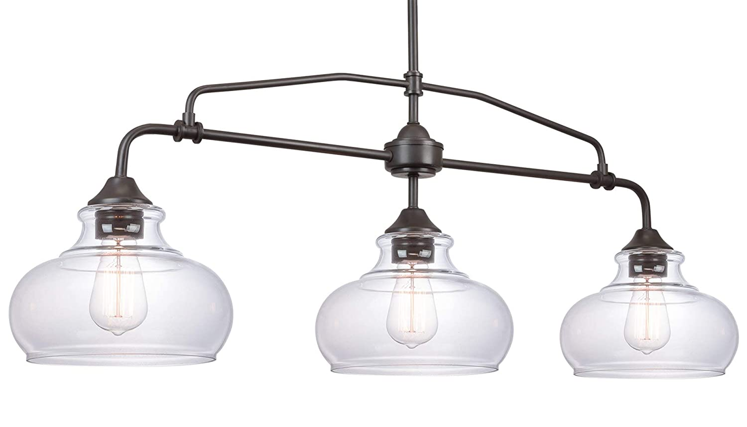 """Kira Home Harlow 37.5"""" Modern Industrial Farmhouse 3-Light Island Light with Clear Glass Shades, Adjustable Hanging Height, Oil Rubbed Bronze Finish"""