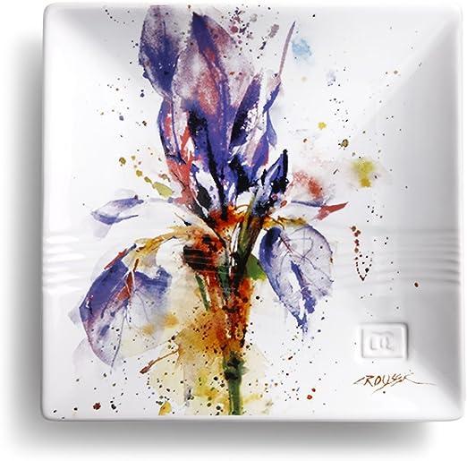 Dean Crouser Lavender Herbal Floral Watercolor Purple 7 x 7 Ceramic Stoneware Snack Plate