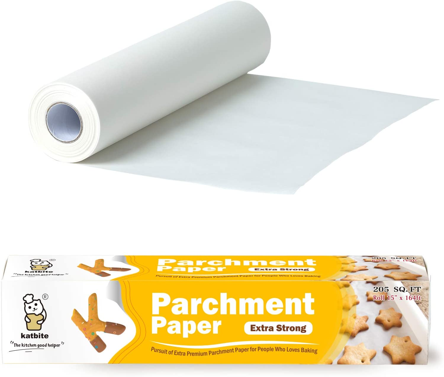 Katbite 205 SQ FT Heavy Duty Parchment Paper Roll -15 in x 164 ft Baking Paper For Cooking, Air Fryer