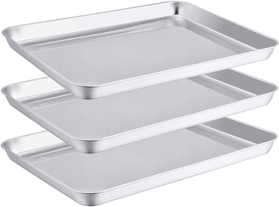 TeamFar Toaster Oven Pans, Stainless Steel Compact Baking Roasting Tray, 8''x10''x1'', Healthy &Heavy Duty, Deep Edge & Mirror Surface, Dishwasher Safe - Set of 3