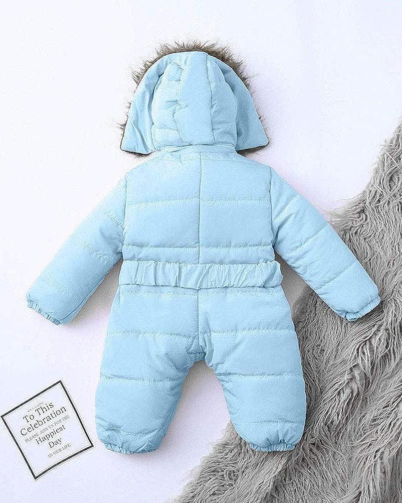 Minetom Baby Daunenjacke Strampler Winter Overall S/äugling Schneeanz/üge mit Kapuze M/ädchen Jungen Spieler