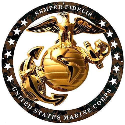 "PhotoSteel USMC ENLISTED ROUND LARGE WALL EMBLEM INSIGNIA 19""x19"" MARINE CORPS SEMPER FI"