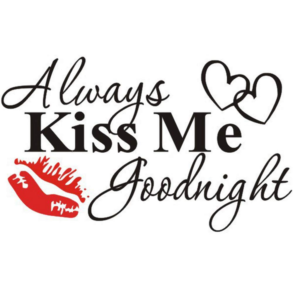 Always Kiss Me Goodnight Wall Decals Quotes Sayings Words Decor Lettering Vinyl Wall Art Inspirational Decal Removable DIY Wall Stickers for Bedroom Home Decor