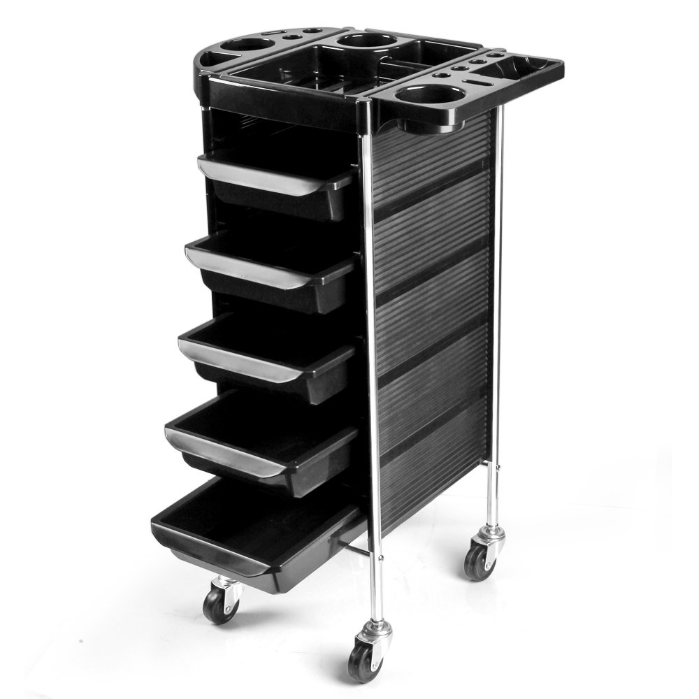 Flexzion Salon Rolling Cart Trolley - Spa Beauty Hairdressing Barber Tool Organizer Roller Storage Tray Appliance Holder Equipment with 5 Drawers and a Mixing Bowl