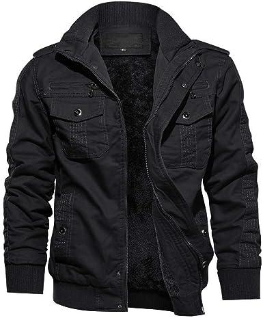 Men Cargo Jacket Military Bomber Jacket Flight Fleece Winter Coat Outwear Hooded