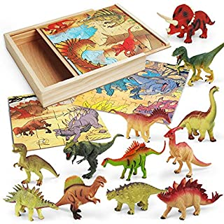 LURLIN 3 in 1 Dinosaur Jigsaw Puzzles in a Wooden Storage Box & 12 Pcs Realistic Dinosaur Figures - Perfect Dinosaur Toys for 3,4,5,6 Years Old Kids, Boys & Girls