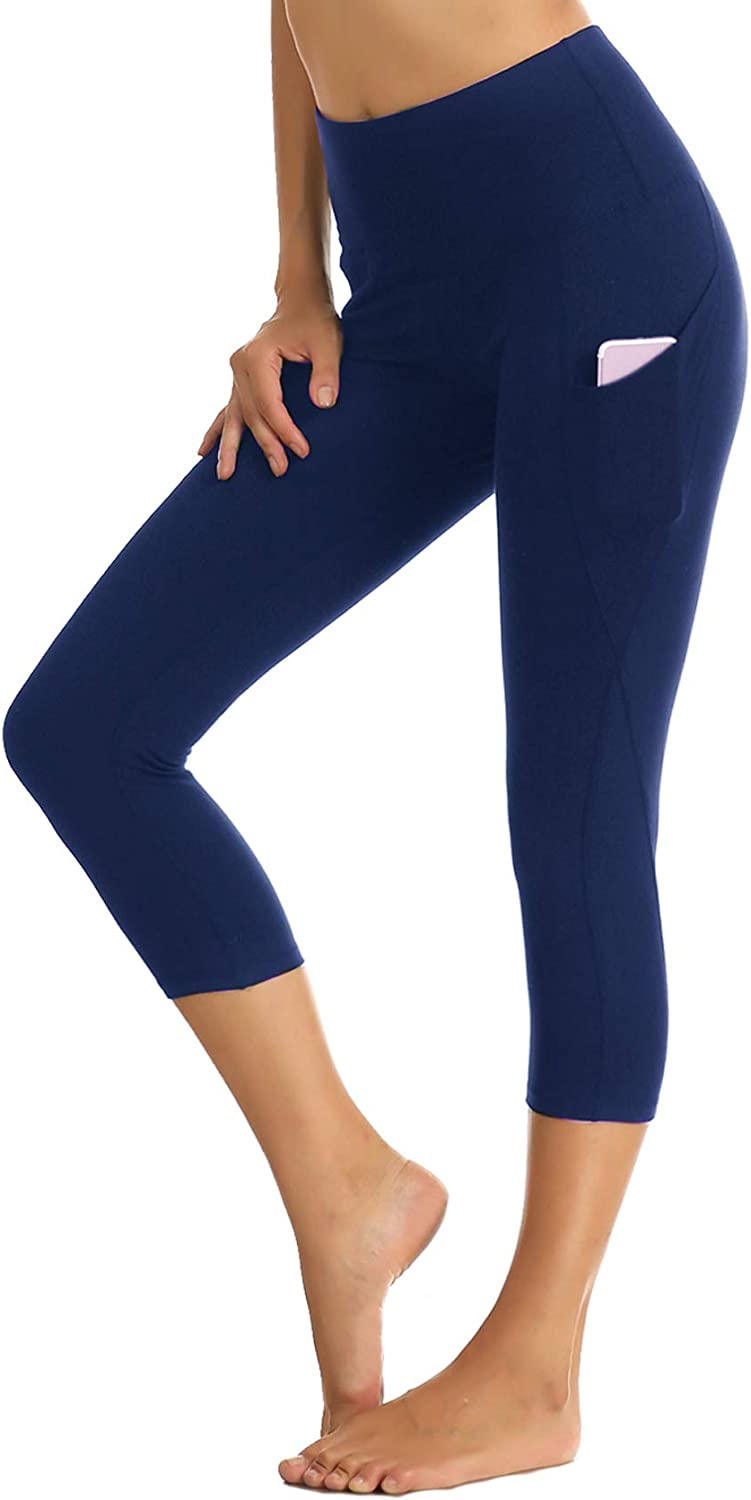 Yoga Pants Side Pocket for Women Non See-Through High Waisted Workout Leggings Soft Tummy Control Spandex Leggings Yoga Pocket Pants- Short Navy Blue, X-Small