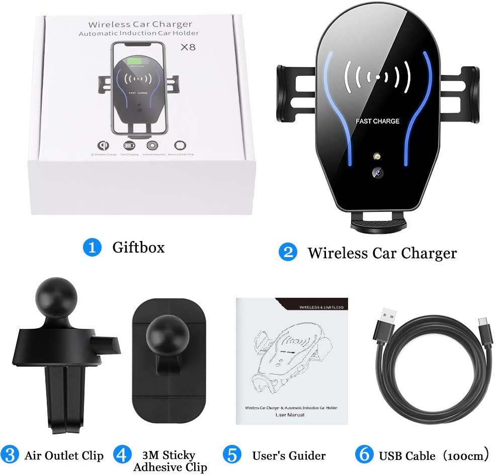 Wireless Car Charger Mount Auto-Clamping Air Vent Car Phone Holder 7.5W Fast Charging Compatible with iPhone 11 Pro Max//XS Max//XS//XR//8 Plus 10W for Samsung Galaxy S10//S9//S8 /& Other Qi Smartphone