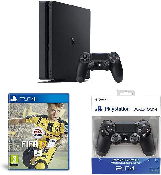 PlayStation 4 Slim (PS4) - Consola de 500 GB + FIFA 17 - Standard Edition + Sony - DualShock 4 Negro V2: Amazon.es: Videojuegos