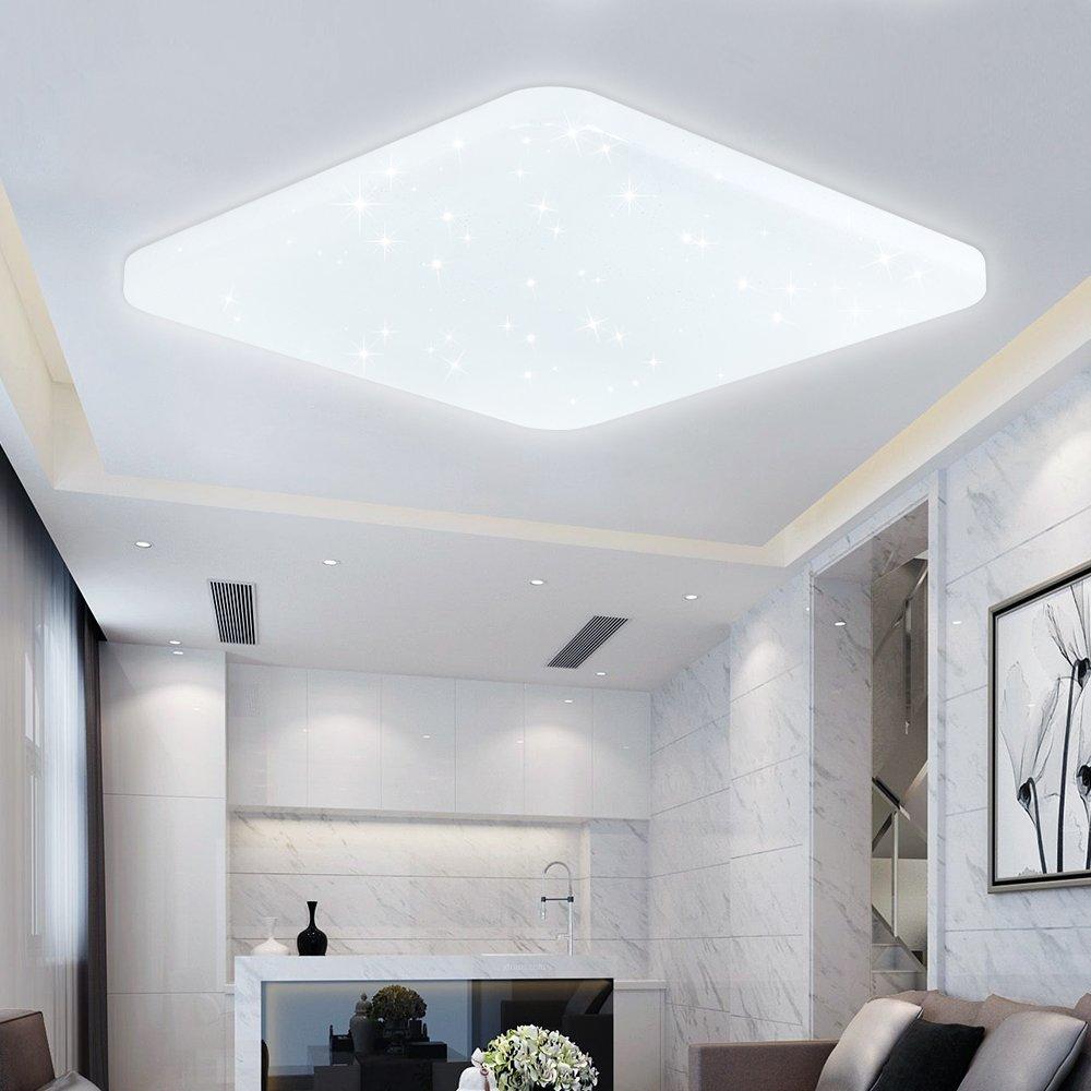 60W LED Deckenlampe Kaltweiß Eckig Starlight Deckenbeleuchtung Wand ...