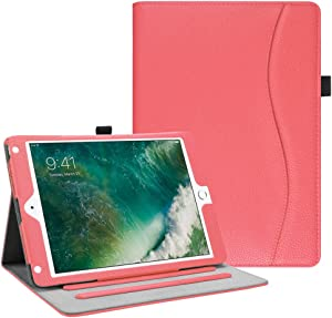 Fintie Case for iPad 9.7 2018 2017 / iPad Air 2 / iPad Air - [Corner Protection] Multi-Angle Viewing Folio Cover w/Pocket, Auto Wake/Sleep for iPad 6th / 5th Gen, iPad Air 1/2, Living Coral