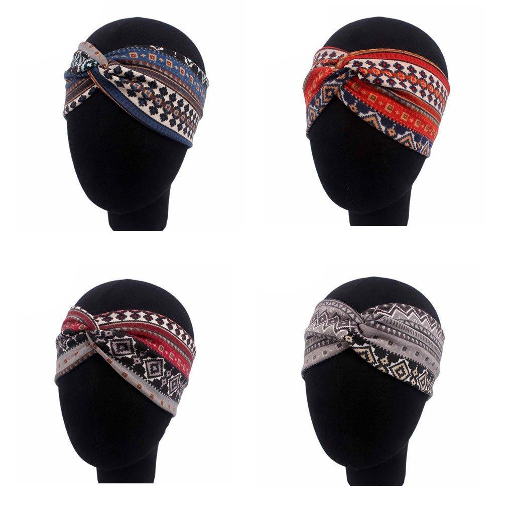 verdrehter turbante de el/ástico Hairband borgo/ña 22x9cm cuigu Mujer /étnico Impreso querbreites cinta 8.66x3.54in