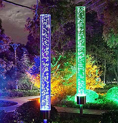 Rgb Colour - 2pcs Garden Solar Lights Outdoor Acrylic Rubble RGB Color Changing Light Solar Tube Lights for Garden Patio Backyard Pathway Decor