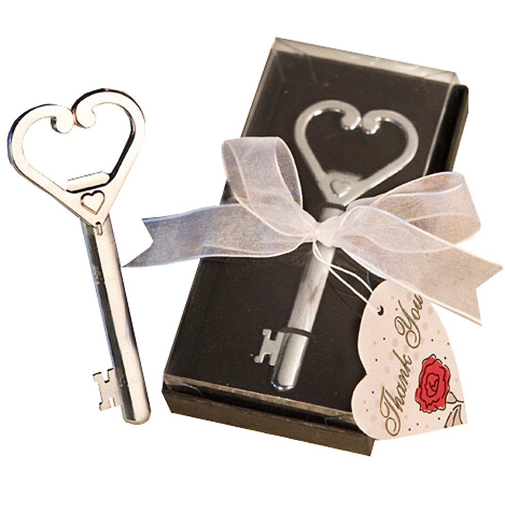 Heart Accented Key Bottle Opener Favors