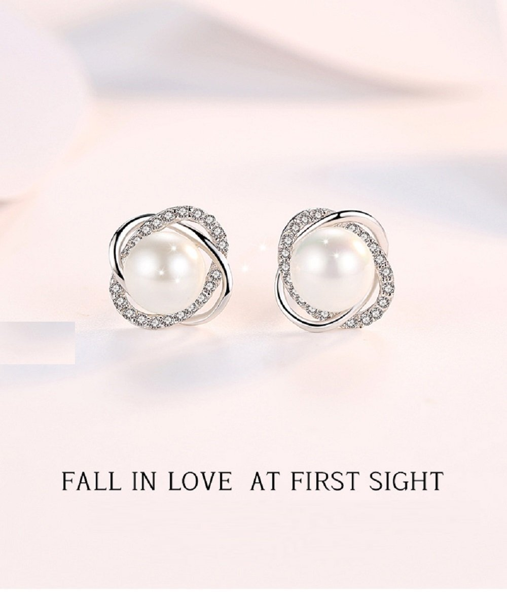 Sterling Silver Freshwater Cultured Pearl and Cubic Zirconia Spiral stud Earrings by Lam Sence (Image #4)