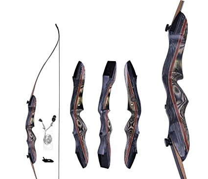 """60/"""" Takedown Recurve Bow 20-60lbs 15/'/' Wooden Riser Archery Bow Hunting Shooting"""