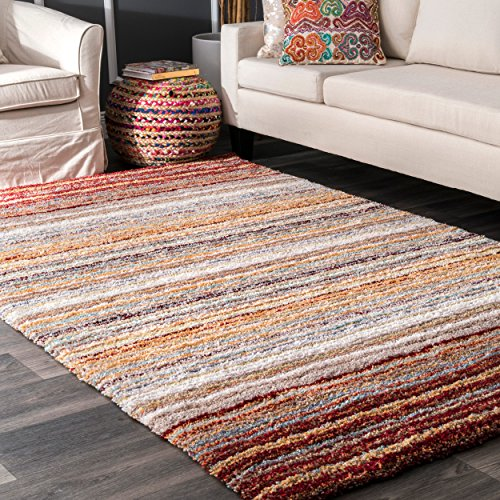 nuLOOM Hand Tufted Classie Shag Area Rug - Red Multi, 6 x 9