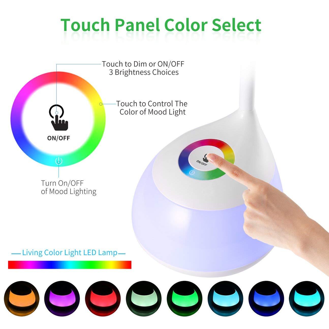Bianco 5000-5500K 16 pezzi LED Protezione degli occhi Lunga durata flessibile Flessibile regolabile Sensore di tocco rapido Lampada a LED a colori viventi