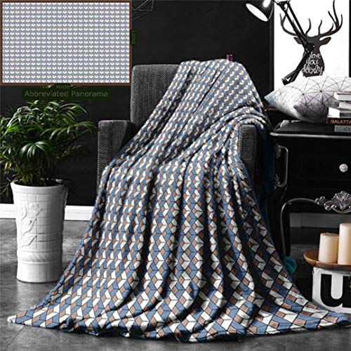 (Unique Custom Digital Print Flannel Blankets Geometric Modern Nested Repeating Diamond Line Pattern with Vertical Lines Slate B Super Soft Blanketry for Bed Couch, Throw Blanket 70 x 50 Inches)