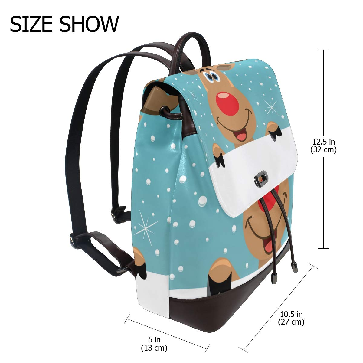 KEAKIA Women PU Leather Rudolph Deer Backpack Purse Travel School Shoulder Bag Casual Daypack