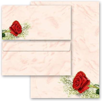 senza finestra 20 pezzi Set completo ROSA DI FIORE 10 fogli di carta da lettera e 10 buste DIN LANG