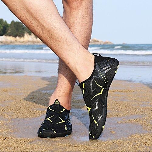 Swim Donna Per Mayzero Aqua Uomo Scarpe Nudi Yoga 77 Quick Esercizio Water E Dry Piedi A Beach Shoes Verde nero Surf Pool tOOqwF0