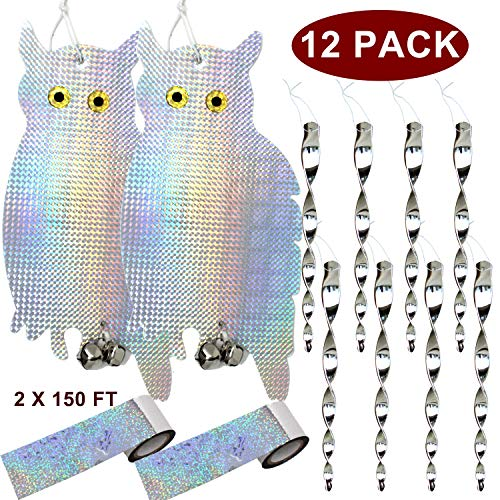 JALOUSIE 12 Pack Bird Repellent Bundle Bird Scare Tape Bird Deterrent Reflective Owl and Spinning Rods