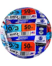 Southwire 63948422 50' 10/3 with ground Romex brand SIMpull residential indoor electrical wire type NM-B, Orange