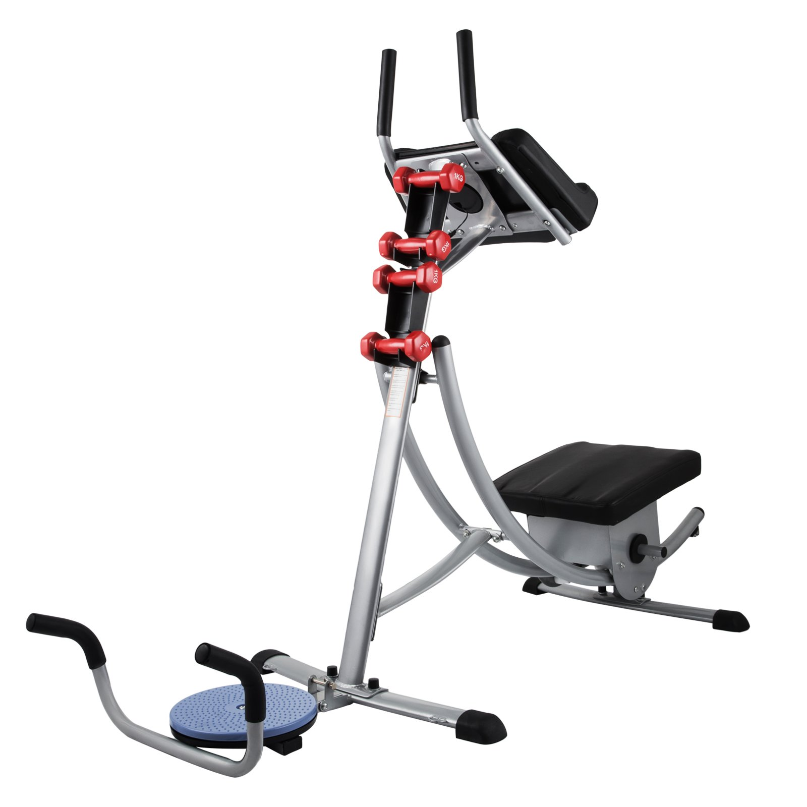 Popsport Abdomen Machine 330LBS Abdominal Coaster Abdomen Exercise Equipment with Adjustable Seat for Abdominal Muscle Training (Ab Coaster with 4 Dumbbells and wriggled Plate)