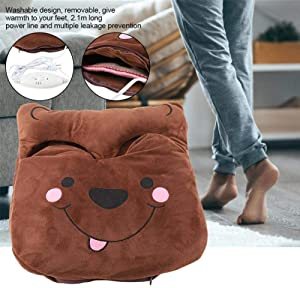Electric Heating Feet Velvet Warmer Pad,Winter Portable Warm Cosy 220V Heated Foot Shoes Massager Slipper Heat Mat,Brown